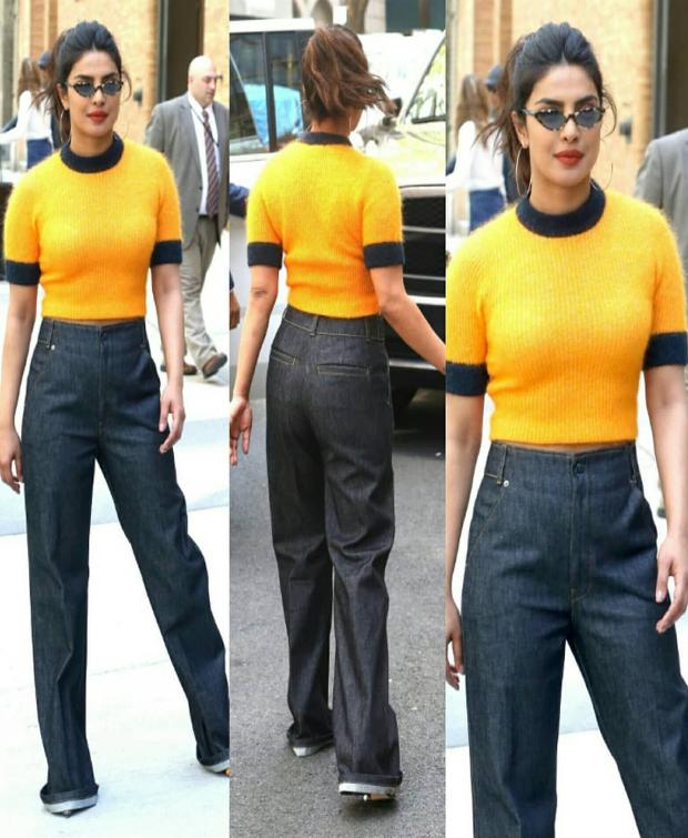 Priyanka Chopra in yellow tee-flared denim in NYC