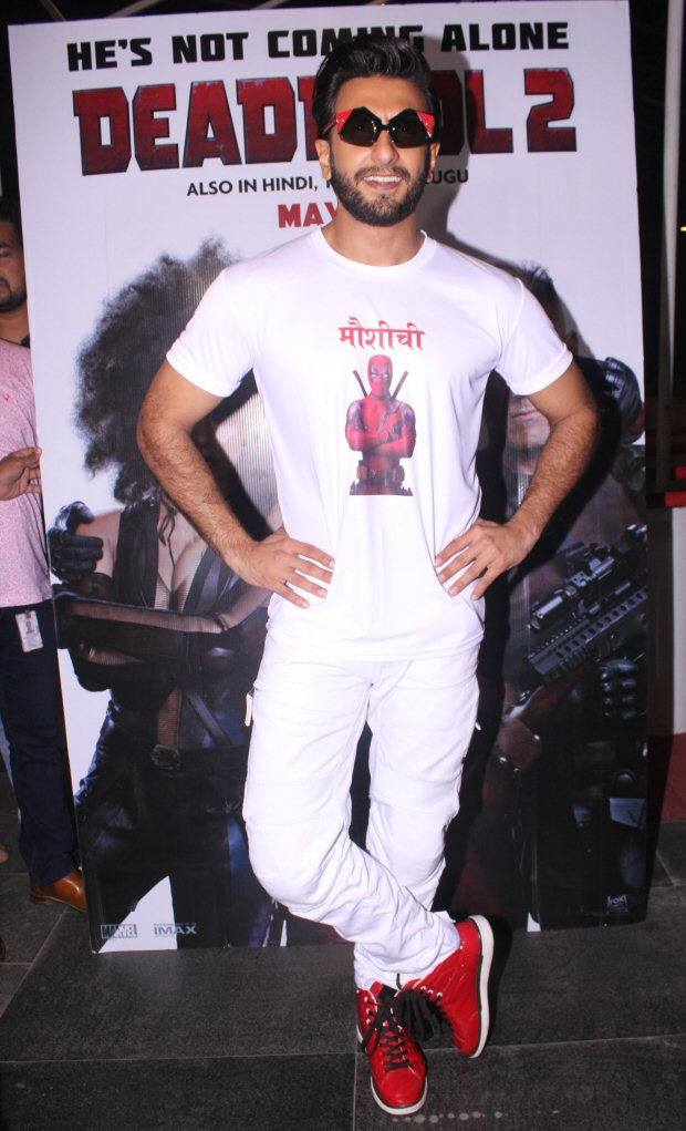 Ranveer Singh hosts a special screening for Deadpool 2 in the quirkiest tshirt