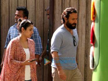 Saif Ali Khan snapped shooting for an ad in Juhu