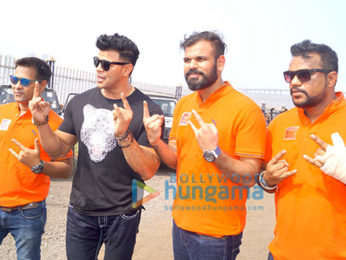 Shama Sikandar and Sahil Khan flag off the 'Mud Skull 4x4' off road rally in Mumbai