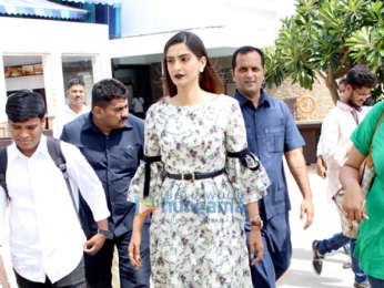 The cast of film Veere Di Wedding snapped during media interview at Sun n Sand in Juhu