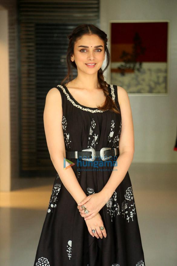 Aditi Rao Hydari snapped at media interactions for her South Indian film 'Sammohanam'