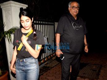 Janhvi Kapoor, Khushi Kapoor & Boney Kapoor visit Arjun Kapoor's home