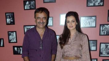 Rajkumar Hirani and Dia Mirza attend the press meet for Sanju