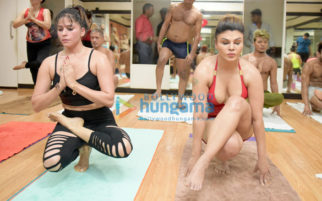 Rakhi Sawant and Arshi Khan snapped practicing yoga on International Yoga Day