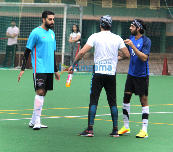 Ranbir Kapoor and Abhishek Bachchan snapped at a football match