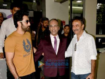 Ranbir Kapoor and Rajkumar Hirani snapped promoting Sanju at the ETC office