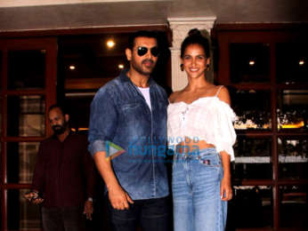 John Abraham, Aisha Sharma and Milap Zaveri snapped at the Radio City office in Bandra