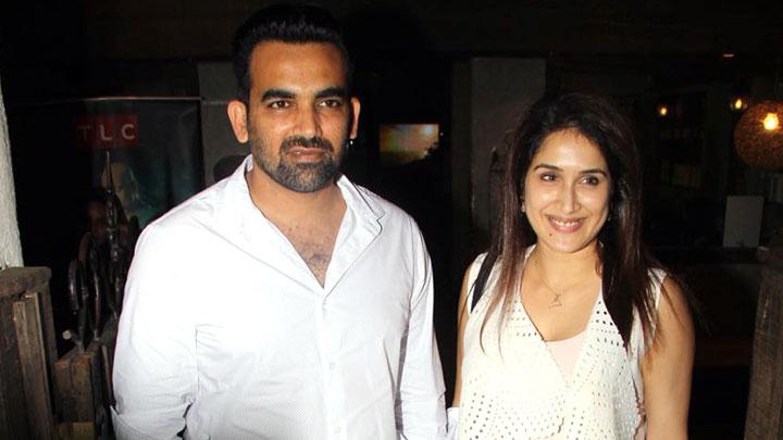 Zaheer Khan & his wife Sagarika Ghatge @Special Screening of 'Soorma'