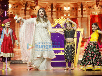 Huma Qureshi snapped on sets of the show India's Best Dramebaaz