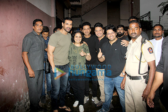 John Abraham and Manoj Bajpayee snapped at Gaiety after watching Satyameva Jayate
