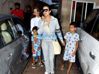 Malaika Arora and Amrita Arora snapped with their kids in Bandra
