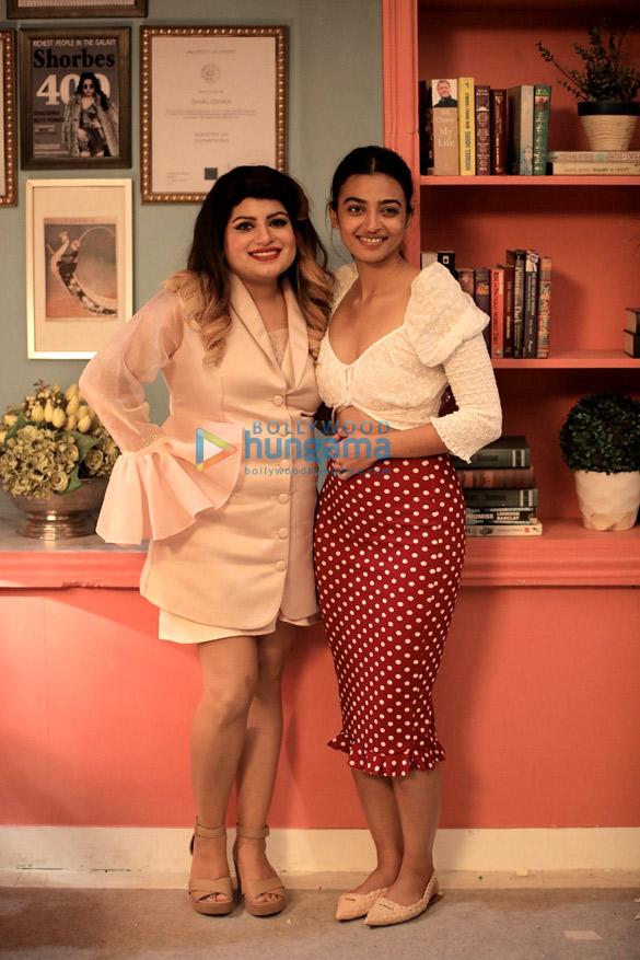 Radhika Apte snapped on the sets of Midnight Misadventures with Mallika Dua