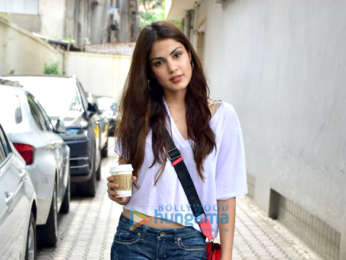 Rhea Chakraborty snapped outside the Vishesh Flims office in Khar