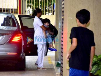 Taimur Ali Khan snapped at Karisma Kapoor's residence