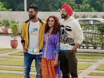 Abhishek Bachchan, Vicky Kaushal & Taapsee Pannu snapped promoting their film 'Manmarziyaan'