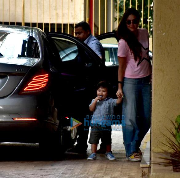 Kareena Kapoor Khan and Taimur Ali Khan snapped at Karisma Kapoor's house