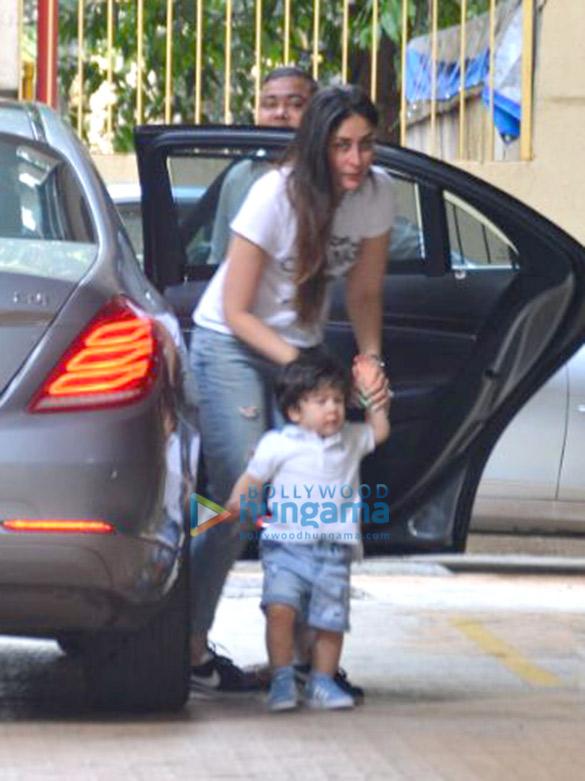 Kareena Kapoor Khan and Taimur Ali Khan snapped at Karisma Kapoor's residence