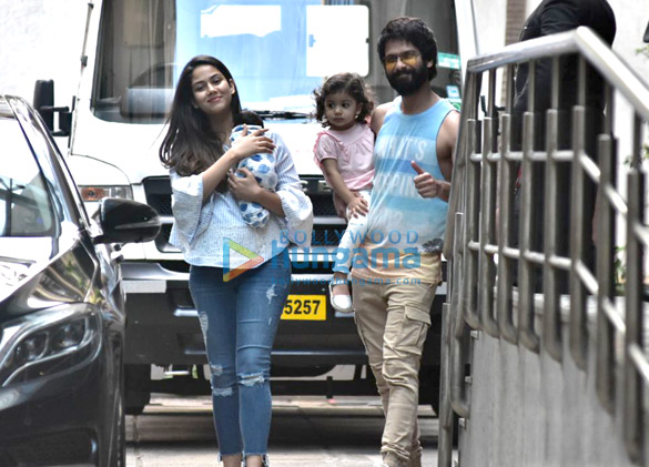 Shahid Kapoor, Mira Rajput and Misha snapped leaving the hospital