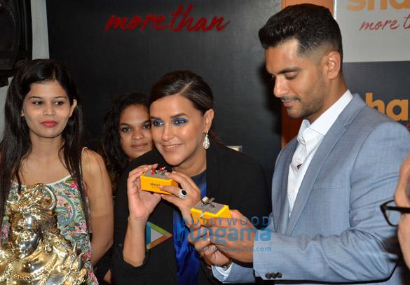 Angad Bedi and Neha Dhupia at Shaze store launch at Oberoi Mall