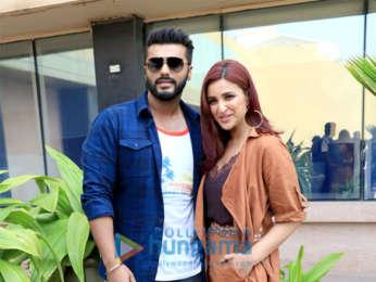 Arjun Kapoor and Parineeti Chopra snapped promoting their movie Namaste England at Novotel, Juhu