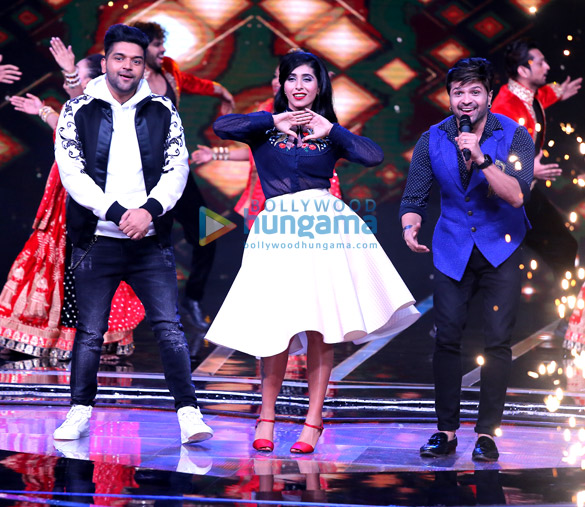 Himesh Reshammiya, Guru Randhawa and Neha Bhasin snapped on sets of the reality show Love Me India