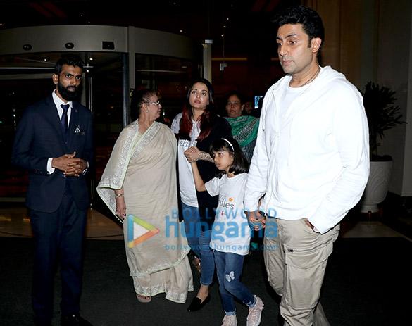 Aishwarya Rai Bachchan, Abhishek Bachchan, Amitabh Bachchan and Parineeti Chopra snapped in Juhu (1)