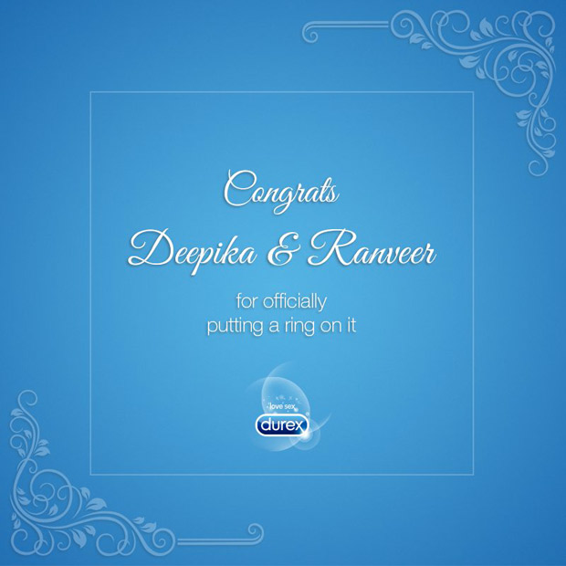 Deepika Padukone – Ranveer Singh wedding: Durex has a NAUGHTY congratulatory wish for the couple (see pic)