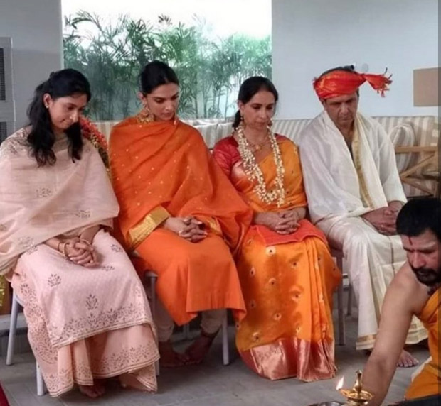 Deepika Padukone and Ranveer Singh's WEDDING first pic OUT The bride dazzles in Sabyasachi at pre-marriage puja