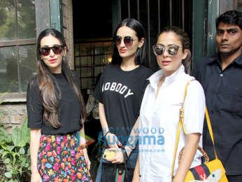 Karisma Kapoor, Amrita Arora and Anu Diwan snapped at Pali Village Cafe in Bandra