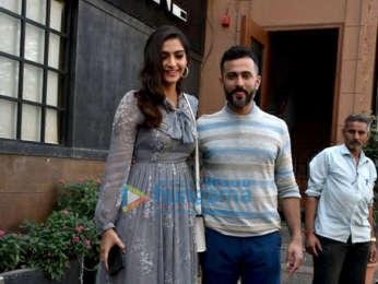 Sonam Kapoor Ahuja and Anand Ahuja snapped at his store in Bandra