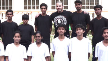 WWE Superstar Matt Hardy playing football with children from special Olympics Bharat In Mumbai