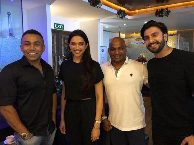 Deepika Padukone and Ranveer Singh bump into former Sri Lankan cricketer Sanath Jayasuriya