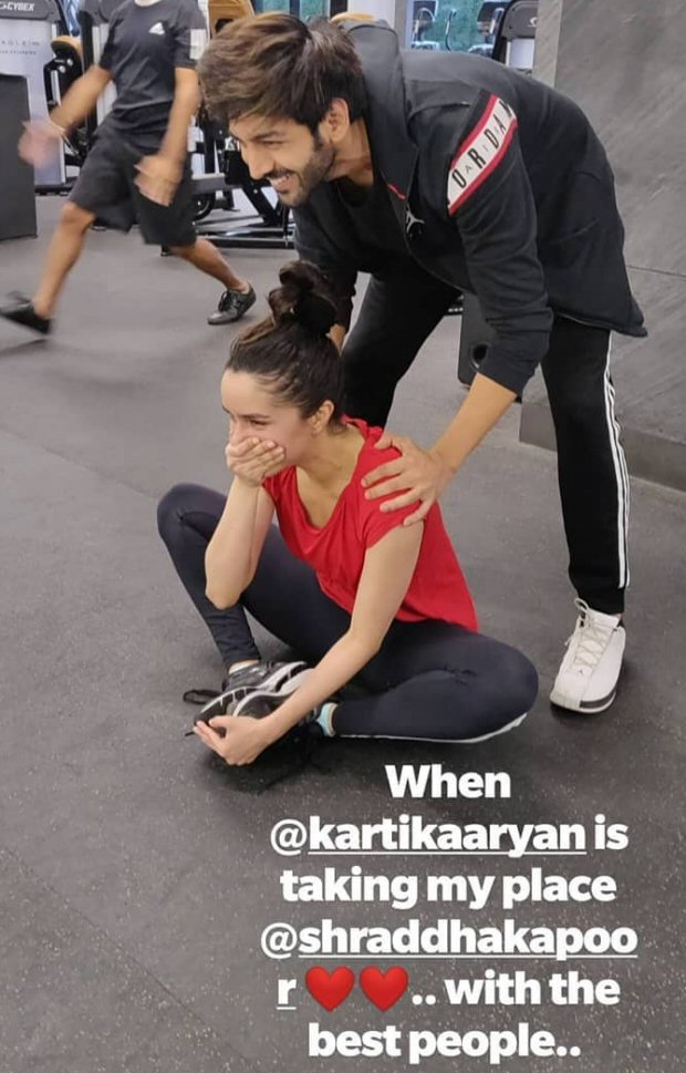 PHOTO ALERT! Kartik Aaryan turns gym trainer for Shraddha Kapoor