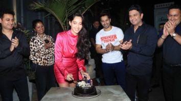 'Dilbar' girl Nora Fatehi rings her birthday with Street Dancer 3D duo Varun Dhawan and Bhushan Kumar