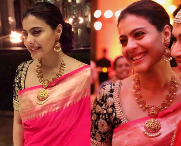 Kajol in Coloroso Weaves Banarasi saree for Soundarya Rajinikanth's wedding in Chennai (4)