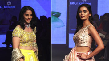 Saina Nehwal and Meenakshi Dixit on RAMP at LFW DAy 4
