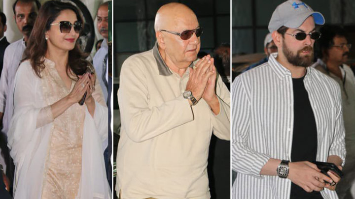 UNCUT Madhuri Dixit, Prem Chopra, Neil Nitin Mukesh at Late Rajkumar Barjatya Prayer Meet