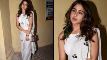 Sara Ali Khan in Aapro Label pant saree for Sonchiriya promotions (Featured)