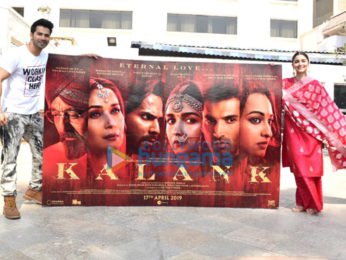 Varun Dhawan and Alia Bhatt snapped promoting their film Kalank