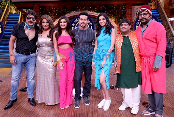 Student Of The Year 2 stars Tiger Shroff, Tara Sutaria and Ananya Pandey snapped on the sets of The Kapil Sharma Show