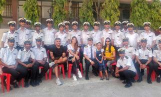 Malang star Disha Patani and director Mohit Suri strike a pose with Merchant Navy students