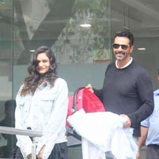 Arjun Rampal and Gabriella Demetriades discharge from hospital with new born son
