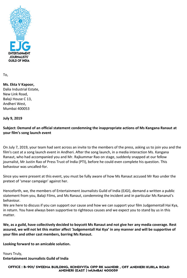 Entertainment Journalists Guild of India decides to BOYCOTT Kangana Ranaut, demands Ekta Kapoor to condemn the incident
