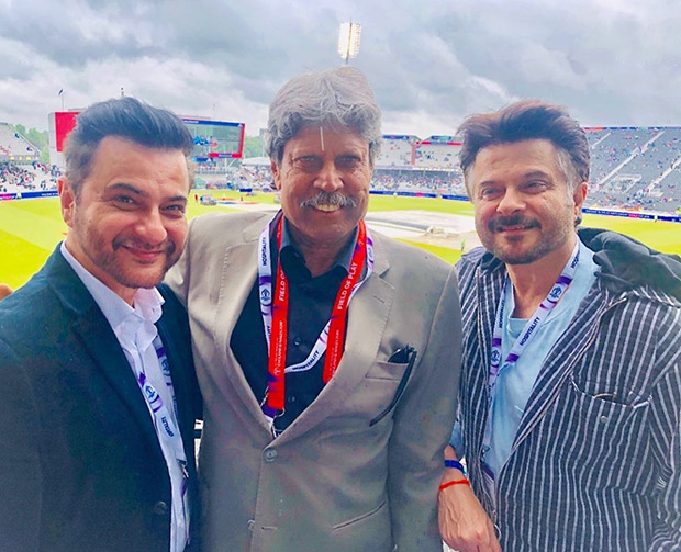 Anil Kapoor and Sanjay Kapoor have a fan boy moment as they meet cricket legend Kapil Dev at the ongoing ICC World Cup!