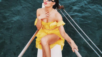 Jacqueline Fernandez stuns in a yellow off-shoulder dress during her birthday trip on a yacht in Sri Lanka