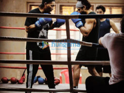 on the sets of the movie Toofan