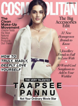 Taapsee Pannu on the cover of Cosmopolitan, Sep 2019