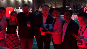 T-Series presented with the Red Diamond button in Singapore for crossing 100 million