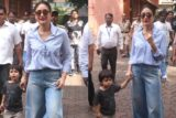 Kareena Kapoor Khan with Taimur Ali Khan spotted casting her Vote in Mumbai